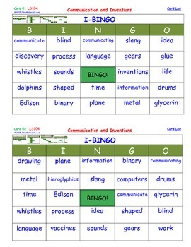 A Brilliant -  I-BINGO – Communication and Inventions - In