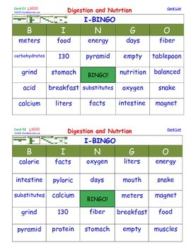 A Brilliant - I-BINGO – Digestion and Nutrition - LS010 In