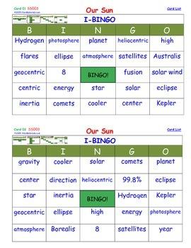 A Brilliant -  I-BINGO – Our Sun - IBSS003 Interactive BINGO