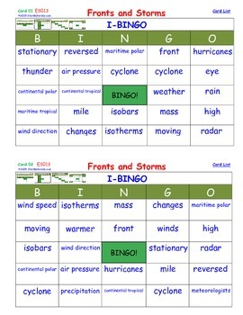 A Brilliant -  I-BINGO – Fronts and Storms - Weather - IBE