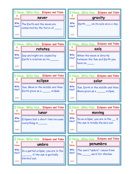 A Brilliant -  I Have Who Has 30 Card Set – Eclipses and T