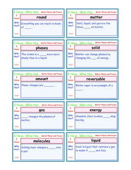 A Brilliant -  I Have Who Has 30 Card Set – Phases of Matt
