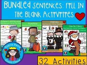 A+ Bundled Sentences: Fill In The Blank Activities