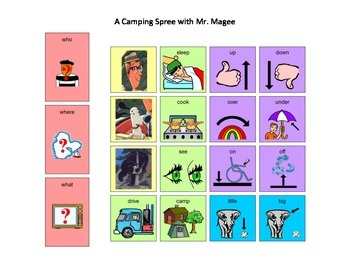 A Camping Spree with Mr. Magee Core Word Manual Board and