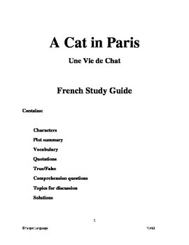 A Cat in Paris-French Study Guide