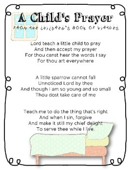 A Child's Prayer Poem from the Children's Book of Virtues