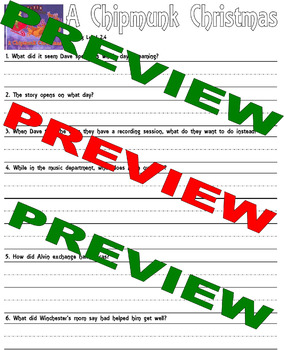 A Chipmunk Christmas : Comprehension Questions : LINED Paper