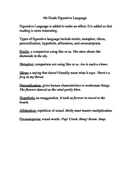 4th Grade Figurative Language