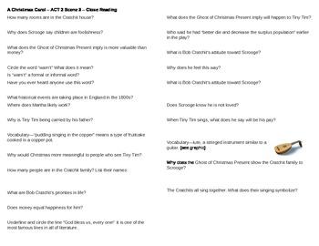 A Christmas Carol - Act 2 Scene 3 Questions -  Horovitz st