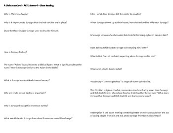 A Christmas Carol - Act 2 Scene 5 Questions -  Horovitz st