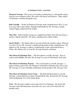 A Christmas Carol - Character Descriptions