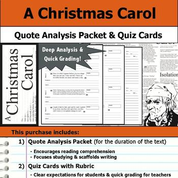A Christmas Carol - Quote Analysis & Reading Quizzes