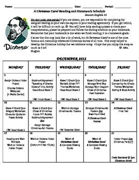 A Christmas Carol Reading & Homework Schedule
