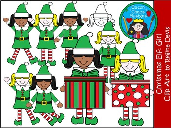 A+ Christmas Elf (Girl) Clip Art...Color And Black And Whi