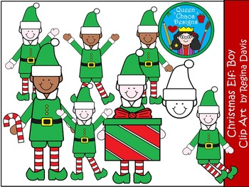 A+ Christmas Elf (Boy) Clip Art...Color And Black And Whit