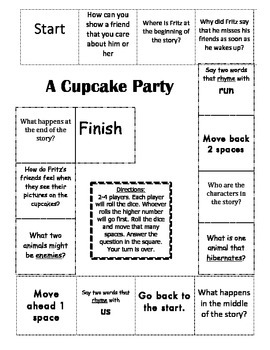 """""""A Cupcake Party"""" Comprehension Game Board- Journeys story"""