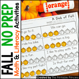 Fall Activities {Math & Literacy for Kindergarten} NO PREP