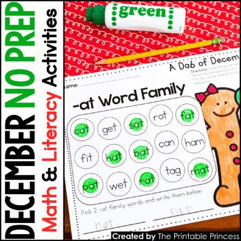 Winter and Gingerbread Activities for Kindergarten NO PREP