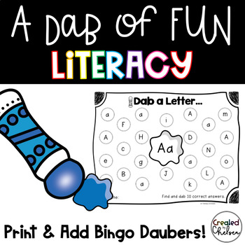 A Dab of MORE Fun {Literacy Printables with Bingo Daubers}