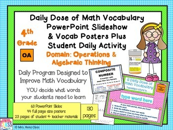 Operations in Algebra Math Word Wall Posters Plus PPT Slid