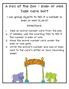 A Day at the Zoo - Even or Odd Task Card Sort (2.OA.3)
