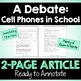 A Debate: Cell Phones in Schools - Close Reading Article &
