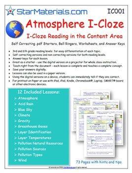 A Differentiated I-Cloze for iPads or Paper - 72 Page Atmo