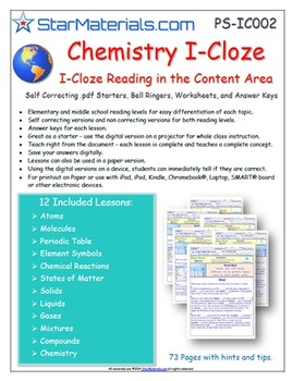A Differentiated I-Cloze for iPads or Paper - 72 Page Chem