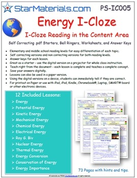 """A Differentiated I-Cloze for iPads or Paper - 72 Page """"Ene"""