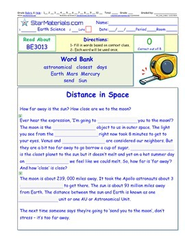 A Differentiated I-Cloze for iPads or Paper - Distances in
