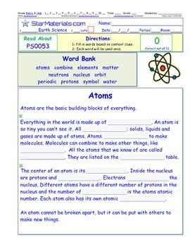 A Differentiated I-Cloze for iPads or Paper - Atoms  PS005