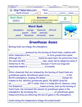 A Differentiated I-Cloze for iPads or Paper -Greenhouse Ga