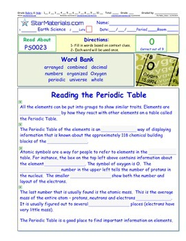 A Differentiated I-Cloze for iPads or Paper - Periodic Tab