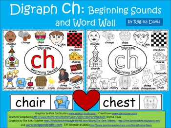 A+ Digraph Ch Beginning Sounds Word Wall