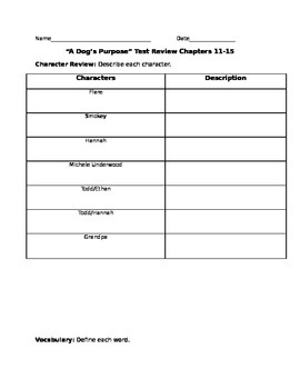 """A Dog's Purpose"" Chapters 11-15 Test and Review"