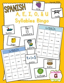 Bingo: Reading U Syllable Words (Spanish)