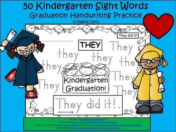 A+ 50 Kindergarten Sight Words: Graduation Handwriting Practice