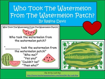 A+ FREEBIE:  Who Took The Watermelon From The Watermelon P