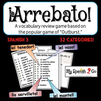 "A FUN SPANISH REVIEW GAME! Arrebato! (Like ""Outburst!"")--S"