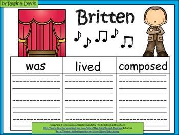 A+  Famous Composer: Britten ... Three Graphic Organizers