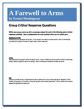 A Farewell to Arms - Hemingway - Group Critical Response Q