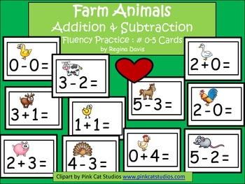 A+  Farm Animals Addition & Subtraction Fluency Practice C