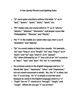 A Few Quirky Phonics and Spelling Rules
