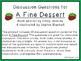 A Fine Dessert Discussion Question Cards