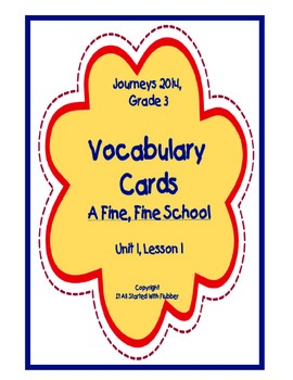A Fine, Fine School, Vocabulary Cards, Unit 1, Lesson 1, J