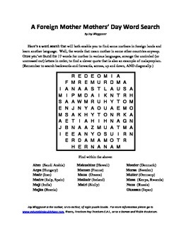 A Foreign Language Mother Mothers' Day Word Search, differ