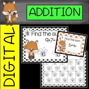 Foxy Single Digit Addition Task Cards