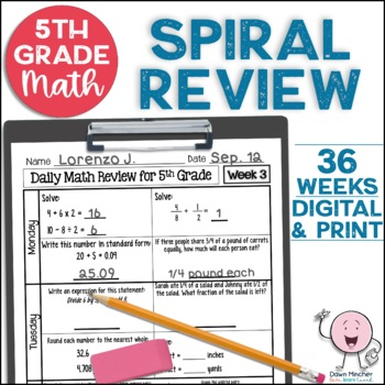 A Full Year of 5th Grade Daily Math Spiral Review * Common