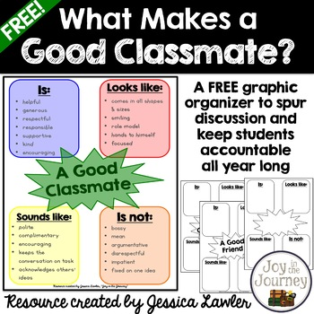 FREE Back-to-School What Makes A Good Classmate? Graphic O