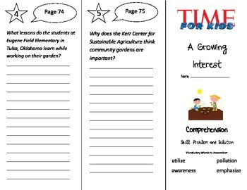 A Growing Interest Trifold - Treasures 3rd Grade Unit 4 Week 3